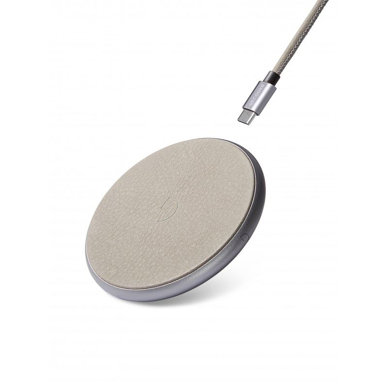 Decoded Leather Fast Wireless Charger, silver/grey