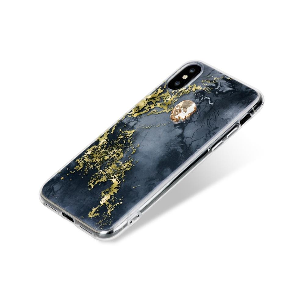 Zadní kryt Bling My Thing Treasure Onyx/Gold Skull pro Apple iPhone X/XS, krystaly Swarovski®